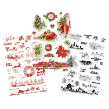 Simple Stories VINTAGE CHRISTMAS Clear Stickers 10353