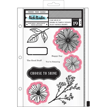 American Crafts Vicki Boutin SHINE Clear Stamp and Die Set Field Notes 346544