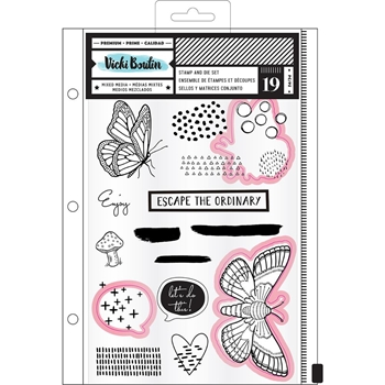 American Crafts Vicki Boutin ESCAPE Field Notes Clear Stamps and Dies 346580
