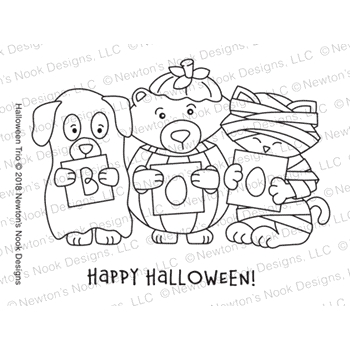 Newton's Nook Designs HALLOWEEN TRIO Clear Stamps NN1808S04