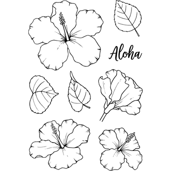 Jane's Doodles HIBISCUS Clear Stamp Set 743351