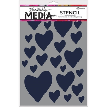 Dina Wakley THE BEST HEARTS Media Stencil MDS63193