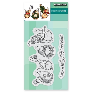 Penny Black Cling Stamp HOLLY JOLLY CRITTERS 40-657