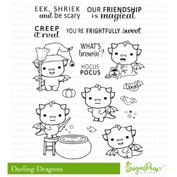 SugarPea Designs DARLING DRAGONS Clear Stamp Set spd-00315