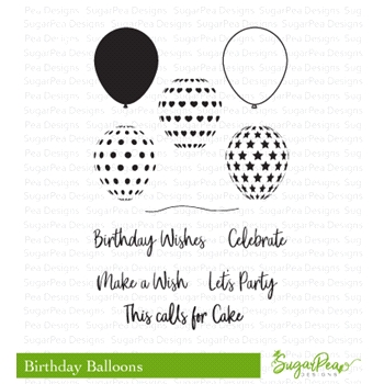 SugarPea Designs BIRTHDAY BALLOONS Clear Stamp Set spd-00318