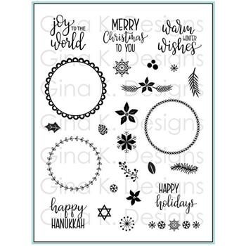 Gina K Designs HOLIDAY WREATH BUILDER Clear Stamps 3580