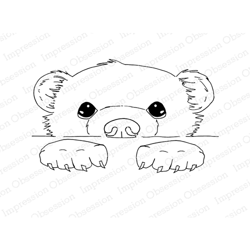 Impression Obsession Cling Stamps PEEKING BEAR 3204-MD Preview Image