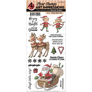 Art Impressions SLEIGH BELLS SET Clear Stamps 5040