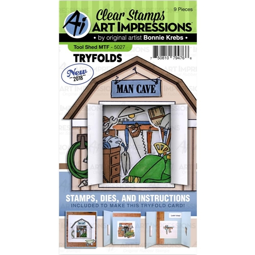 Art Impressions TOOL SHED Try Folds Clear Stamps and Dies Set 5027 Preview Image