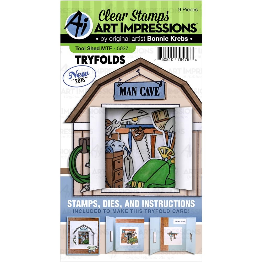 Art Impressions TOOL SHED Try Folds Clear Stamps and Dies Set 5027 zoom image