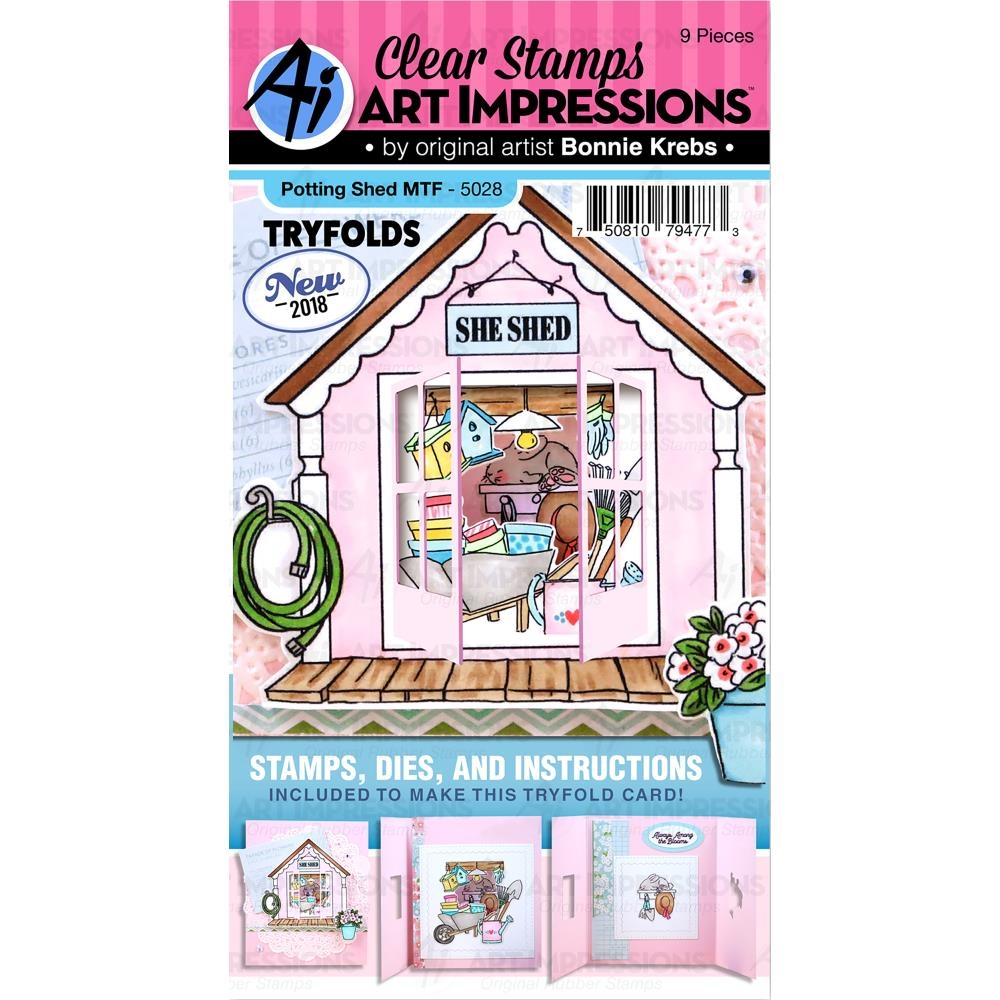 Art Impressions POTTING SHED TryFolds Clear Stamps and Dies Set 5028 zoom image