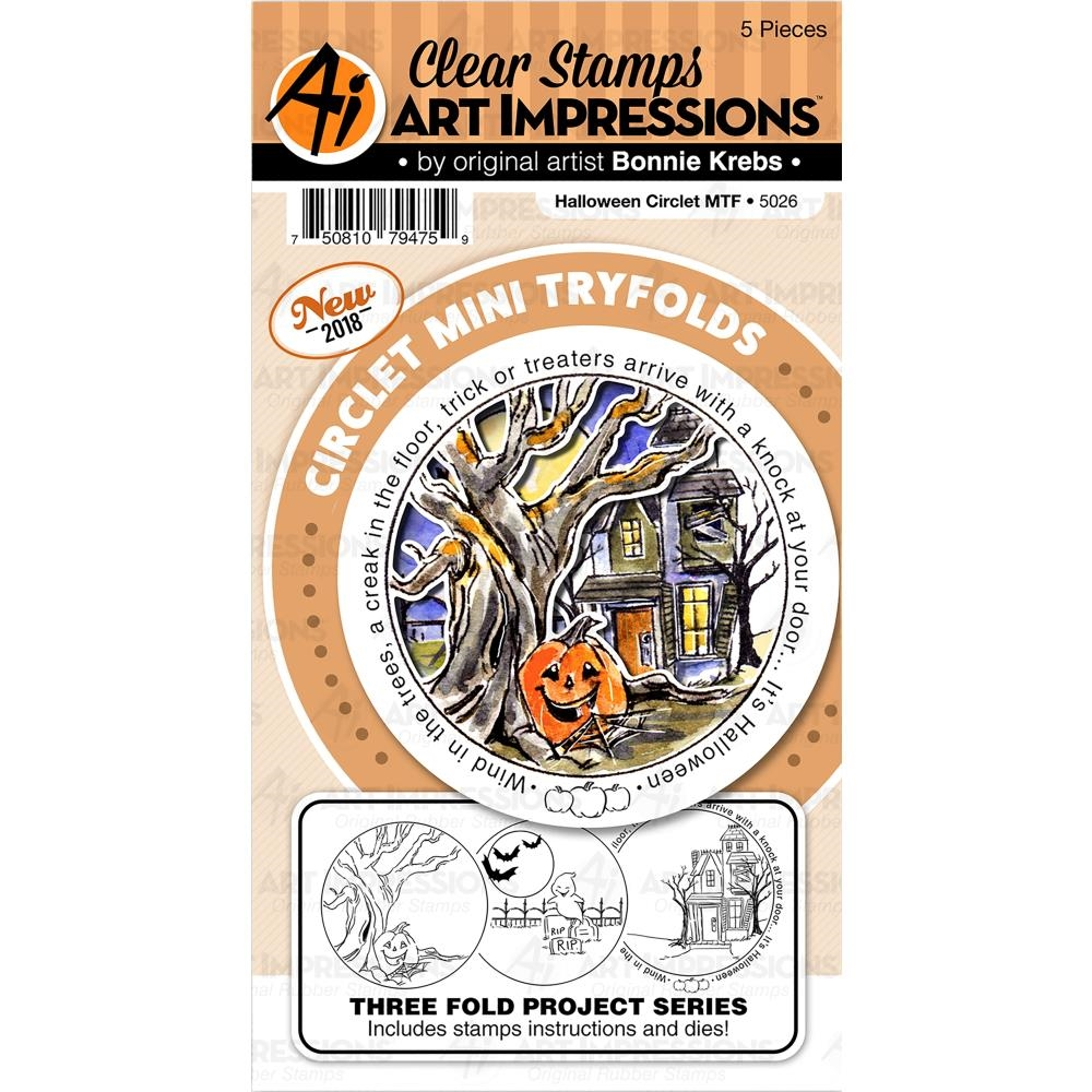 Art Impressions HALLOWEEN Circlet Mini Tryfolds Clear Stamps and Dies 5026 zoom image