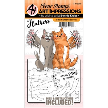 Art Impressions CATS Flutters Stamp and Die Set 5029