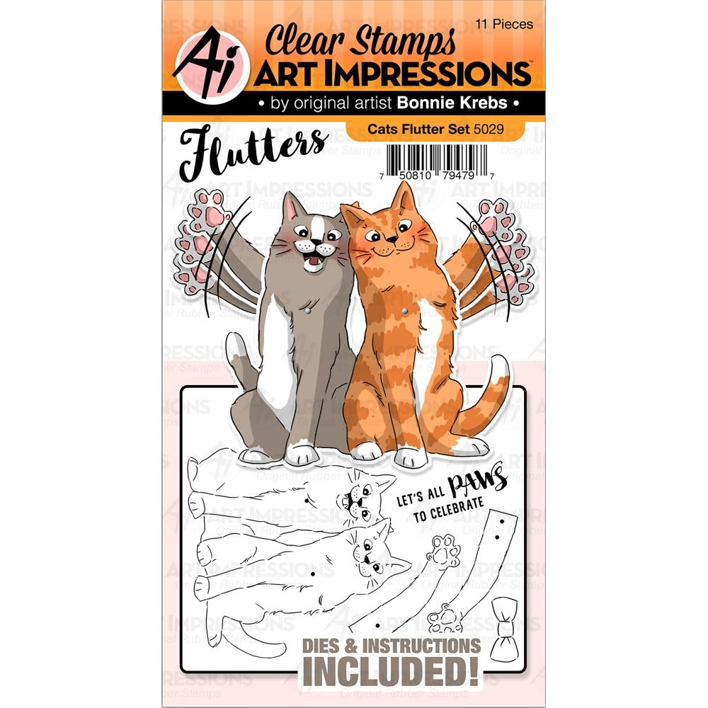 Art Impressions CATS Flutters Stamp and Die Set 5029 zoom image