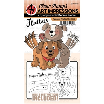 Art Impressions PUPPIES Flutters Clear Stamp and Die Set 5032