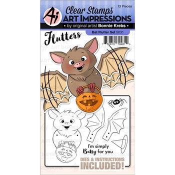 Art Impressions BAT Flutters Clear Stamp and Die Set 5031