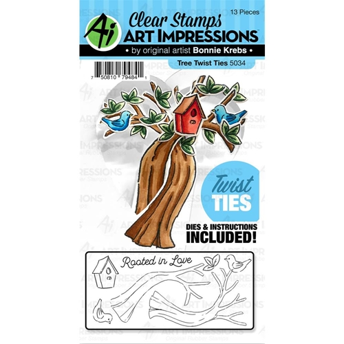 Art Impressions TREE Twist Ties Clear Stamp and Die Set 5034 Preview Image
