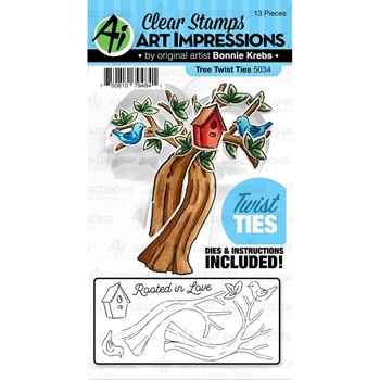 Art Impressions TREE Twist Ties Clear Stamp and Die Set 5034