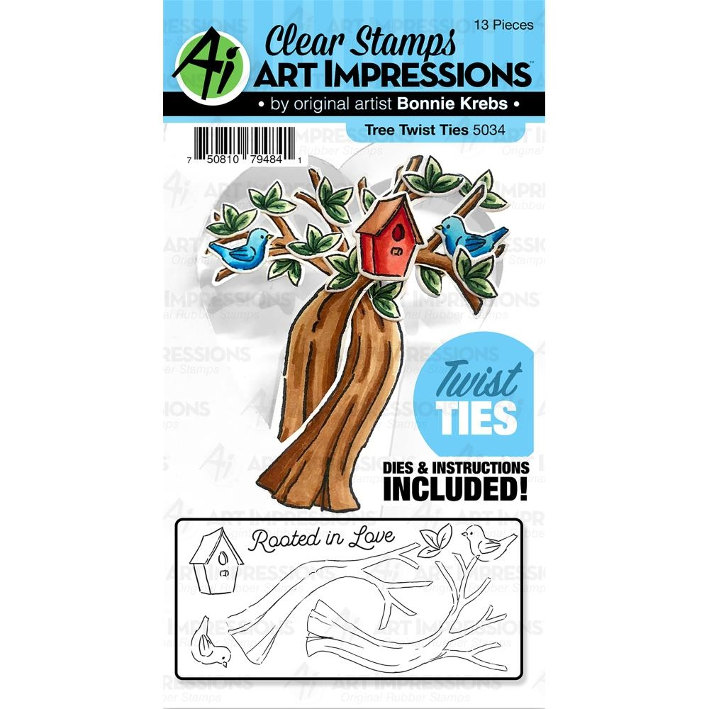 Art Impressions TREE Twist Ties Clear Stamp and Die Set 5034 zoom image
