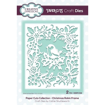 Creative Expressions CHRISTMAS ROBIN FRAME Paper Cuts Collection Dies cedpc1046