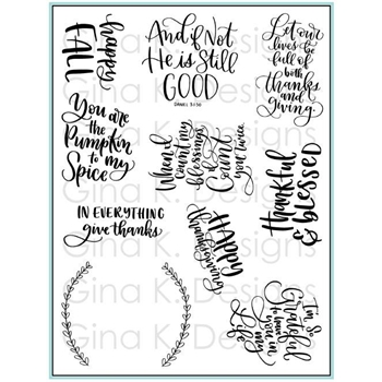 Gina K Designs THANKFUL AND BLESSED Clear Stamps 3405