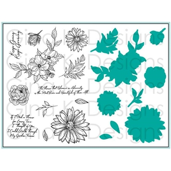 Gina K Designs WHIMSICAL WILDFLOWERS Clear Stamps and Dies Bundle 3399