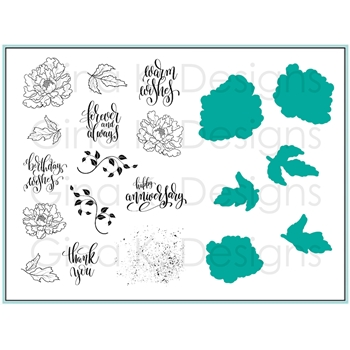Gina K Designs ROSE PEONY Clear Stamps and Dies Bundle 3368