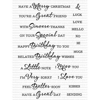 Clearly Besotted BRUSHED SENTIMENTS PLUS Clear Stamps
