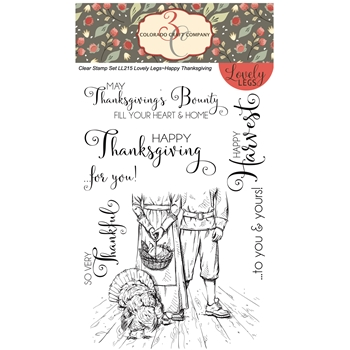 Colorado Craft Company Lovely Legs HAPPY THANKSGIVING Clear Stamps LL215