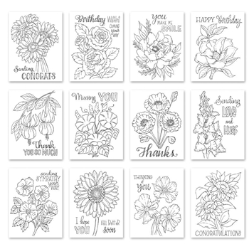 Simon Says Stamp Suzy's FLOWER SENTIMENTS Watercolor Prints szwcfs18