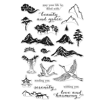 Hero Arts Clear Stamps INK PAINTING SCENE CM302