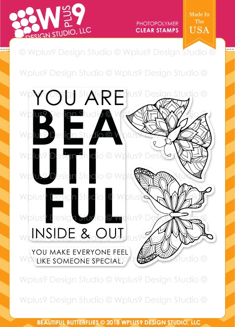 Wplus9 BEAUTIFUL BUTTERFLIES Clear Stamps cl-wp9bebu zoom image