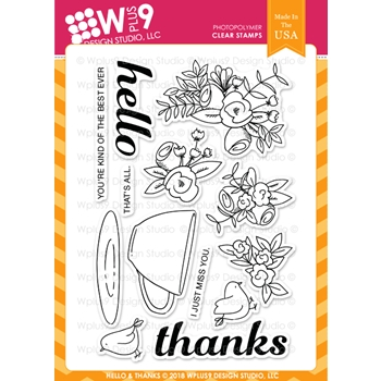 Wplus9 HELLO AND THANKS Clear Stamps cl-wp9heth