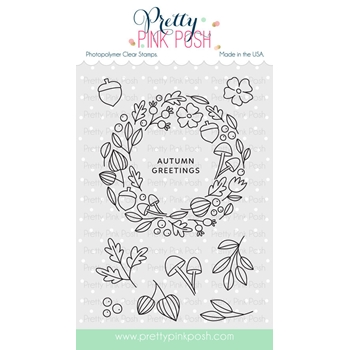 Pretty Pink Posh AUTUMN WREATH Clear Stamps