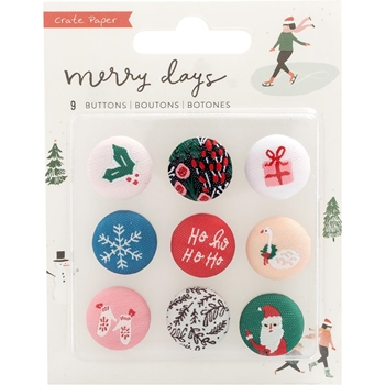 Crate Paper MERRY DAYS Fabric Buttons 344523