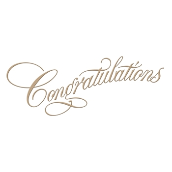 GLP-015 Spellbinders COPPERPLATE SCRIPT CONGRATULATIONS Glimmer Hot Foil Plate