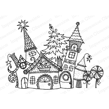 Impression Obsession Cling Stamp CHRISTMAS CASTLE H19875