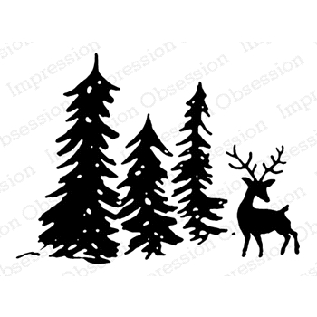 Impression Obsession Cling Stamp DEER SCENE E7988