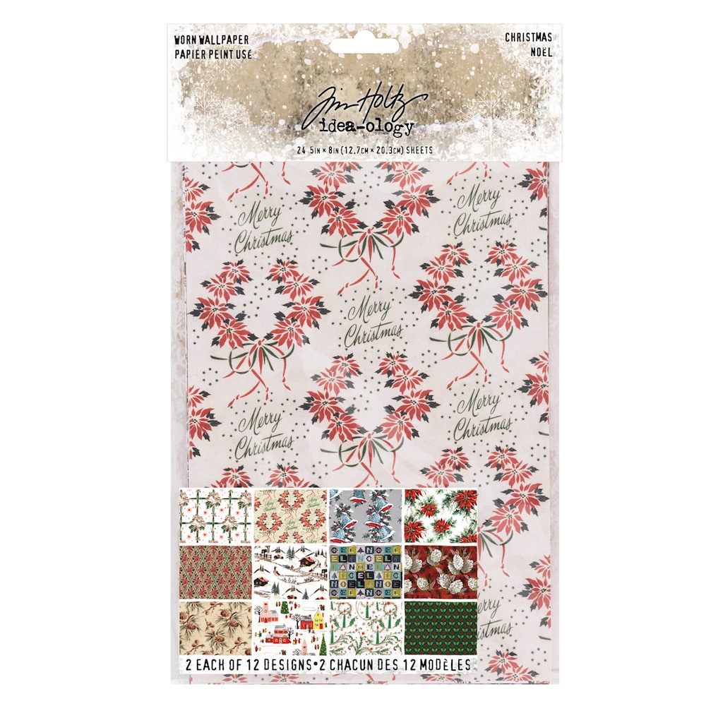 Tim Holtz Idea-ology CHRISTMAS Worn Wallpaper th93777 zoom image