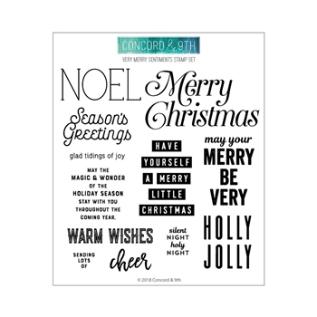 Concord & 9th VERY MERRY SENTIMENTS Clear Stamp Set 10459