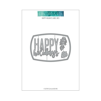 Concord & 9th HAPPY HOLIDAYS LABEL Die Set 10466