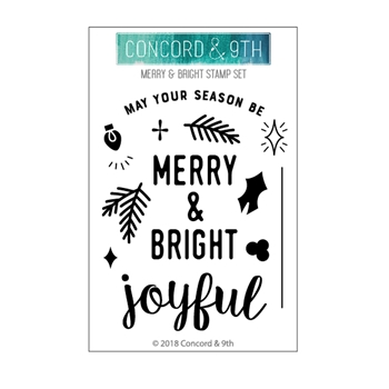 Concord & 9th MERRY AND BRIGHT Clear Stamp Set 10474