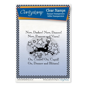 Claritystamp TWAS THE NIGHT NOW DASHER Clear Stamp stach10447a6