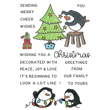 Inky Antics CHRISTMAS DECORATING PENGUINS Clear Stamp Set 11418mc