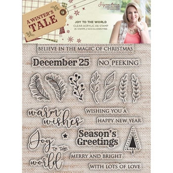 Crafter's Companion JOY TO THE WORLD Clear Stamps A Winter's Tale s-awt-st-jttw