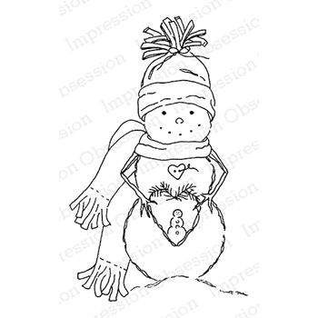 Impression Obsession Cling Stamp SNOWMAN WREATH E20584