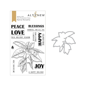 Altenew FESTIVE POINSETTIAS Clear Stamp and Die Bundle ALT2634