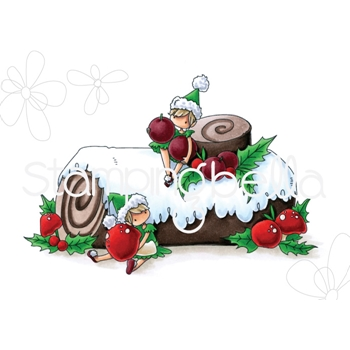 Stamping Bella Cling Stamp TEENY TINY TOWNIE ON A YULE LOG eb745