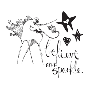 JDS-018 Spellbinders UNICORN SPARKLE Clear Stamps by Jane Davenport