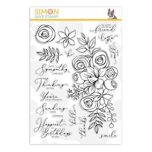 Simon's Exclusive Sketched Flowers Clear Stamp Set